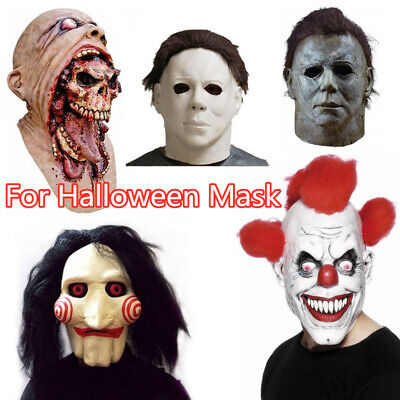 £8.59 • Buy Halloween Latex Mask Horror Face Cosplay Masks Full Head Props Decoration