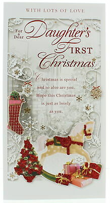 £1.99 • Buy Daughter's First Christmas Card - Rocking Horse & Gifts With Glitter  9 X 4.75