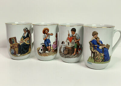 $ CDN26.30 • Buy Vintage Norman Rockwell 1982 Museum Coffee Mugs Set Of 4 Gold Trim Collectible