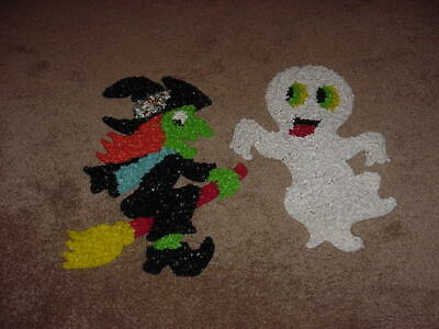$ CDN39.99 • Buy VINTAGE PLASTIC MELTED POPCORN HALLOWEEN WALL DECORATION 1980s 70s GHOST & WITCH