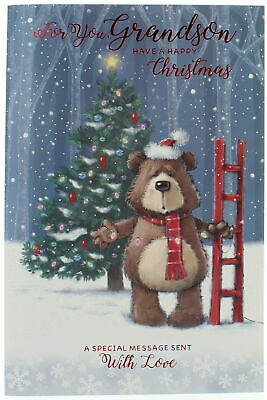 Grandson Christmas Card -Bear Putting Lights On The Tree With Foil & Glitter 9x6 • 2.99£