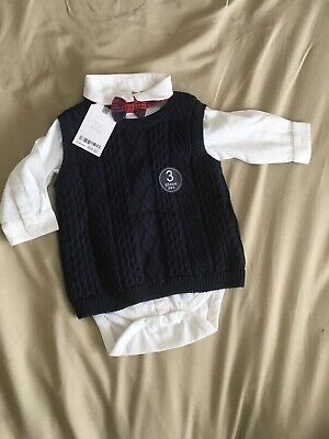 Baby Boy 3 Piece Smart Suit 6-9 Months With Tank Top Shirt And Tie  • 13.99£