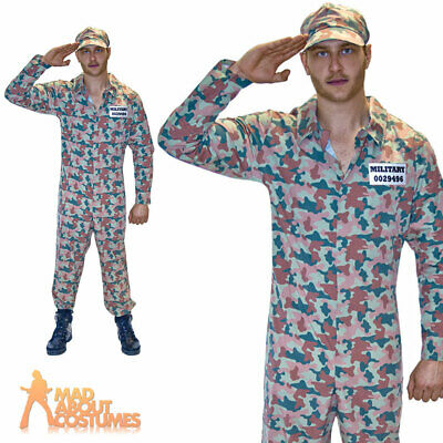 Adult Mens Army Camo Guy Costume Jumpsuit Soldier Military Fancy Dress Outfit • 11.49£