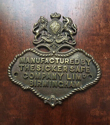 A Rare Cast Brass Sicker Safe Company Safe Plaque/Plate • 29.99£