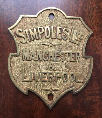 A Rare Cast Brass Safe Plaque/Plate By Simpoles Ltd Of Manchester & Liverpool • 39.99£
