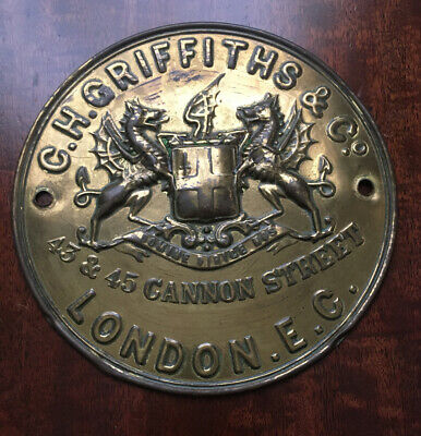Large Antique Brass C.H. Griffiths Safe Plaque/Plate In Good Condition For Age • 19.99£