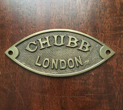 Antique Chubb Cast Brass Safe Plaque • 14.99£