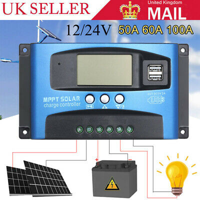 12/24V 10-100A PWM/MPPT Solar Charge Controller Panel Battery Regulator Dual USB • 10.07£