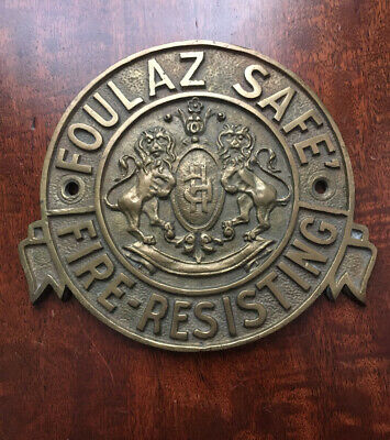 An Extremely Rare Heavy Antique Cast Brass Foulaz Safe Company Safe Plaque/Plate • 59.99£