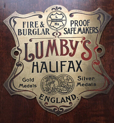 A Rare Antique Brass Lumbys Of Halifax Safe Plaque/Plate In Ex Condition. • 24.99£