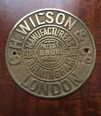A Rare Antique Cast Brass C.H.Wilson And Co Safe Plaque/Plate. • 29.99£