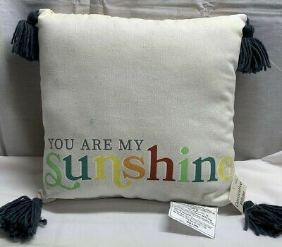 You Are My Sunshine Throw Pillow 14  X 14  Yellow Plaid Gray Tassels NEW  (A2) • 7.40£