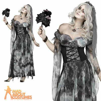 Adults Cemetery Bride Costume Halloween Zombie Horror Ladies Fancy Dress Outfit  • 24.99£