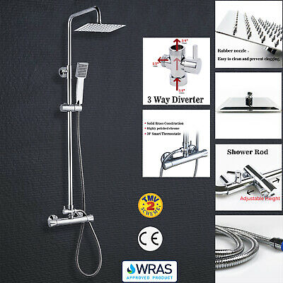 Bathroom Shower Mixer Thermostatic Set Twin Head Chrome Exposed Valve Square Set • 59.99£