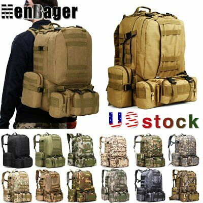 $28.59 • Buy 60L Outdoor Tactical Military Molle Backpack Rucksack  Travel Camping Hiking Bag