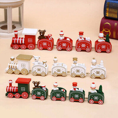 £10.39 • Buy Christmas Wooden Train Decoration Table Desk Ornament Kids Child DIY Xmas Gifts