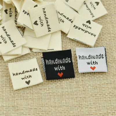 100PCS Handmade With Love Labels DIY Embroidered Heart Woven Garments Tags • 3.19£