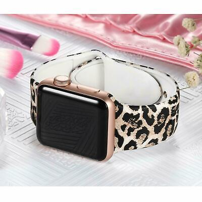 AU13.99 • Buy For Apple Watch Band Series 5 4 3 2 1 Leopard Print Sport Silicone Strap