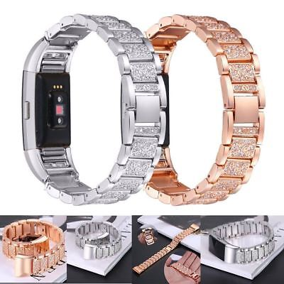 AU19.99 • Buy For Fitbit Charge 2 / 2HR Metal Watch Strap Bands Bracelet Bling Rhinestone