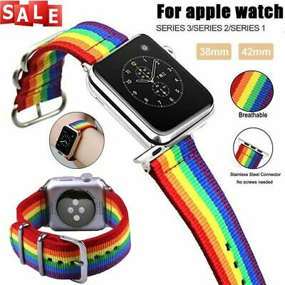 AU16.99 • Buy Pride Rainbow Canvas Watch Band Nylon Starp For Apple Watch Straps 5 4 3 2 1