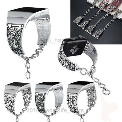 AU24.99 • Buy For Fitbit Ionic  Wristband Watch Bands Metal Vintage Silver Chain Strap Band