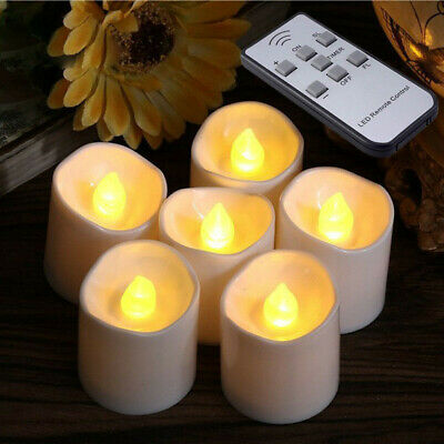 £13.94 • Buy Remote Control LED Flickering Flame Battery Pillar Candles Wax Candle Tea Lights