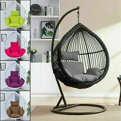 Swing Hanging Egg Rattan Chair Outdoor Garden Patio Hammock Stand Porch Cushions • 26.99£