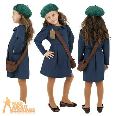Kids 1940s Wartime School Girl Costume Book Day Girls Fancy Dress Child Outfit • 10.49£