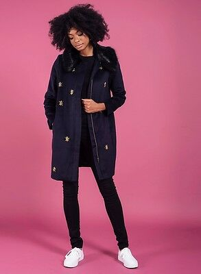 £39 • Buy Darling Womens Scicily Midnight Blue Jewelled Coat With Faux Fur Collar RRP £129