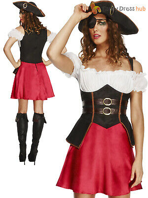 Ladies Fever Pirate Wench Costume Adults Caribbean Fancy Dress UK 8 - 18 Womens • 19.95£