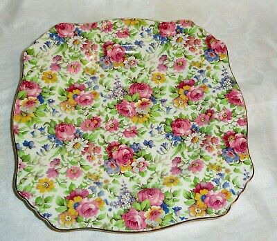 $ CDN33.41 • Buy Royal Winton Grimwades Summertime Red Rose Chintz 1930s Mark  Square Plate
