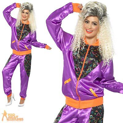 £19.99 • Buy Adults Retro Shell Suit Costume Ladies Womens 1980s Scouse Fancy Dress Outfit