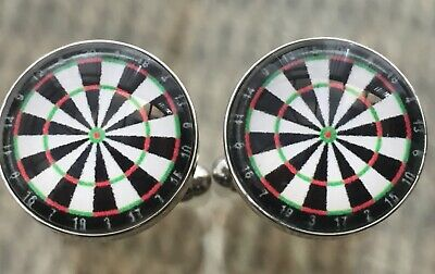 Novelty Dartboard / Sports Cufflinks. Nice Mens / Womens Gift. Free Pouch • 3.75£