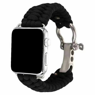 AU18.99 • Buy Black Parachute Cord Woven Strap Watch Band For Apple Watch Series 5 4 3 2 1