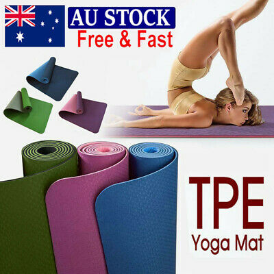 AU20 • Buy 6mm Thick TPE Yoga Mat Non Slip Dual Layer Eco Exercise Fitness Gym Pilates AU