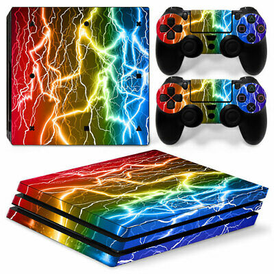 AU10.99 • Buy Colorful Lightning  Wrap Skin Sticker For Sony PS4 PRO Controller &2 Controllers