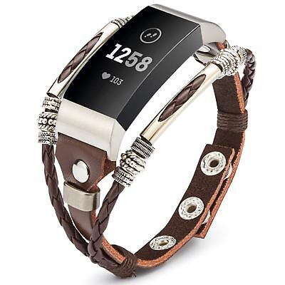 AU21.99 • Buy  Replacement DIY Leather Wristband Band Strap Bracelet For Fitbit Charge 2