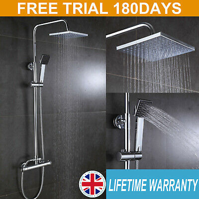 Square Dual Head Thermostatic Shower Mixer Set Chrome Bathroom Exposed Valve Bar • 53.14£