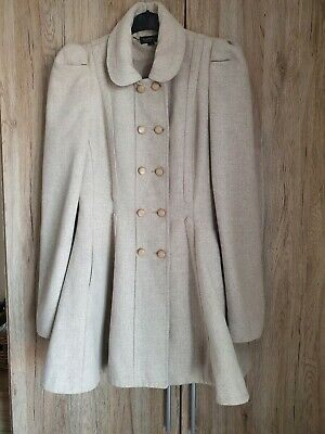 Topshop Princess Fit And Flare Riding Coat Victorian Skater Beige Size 10  • 13.60£