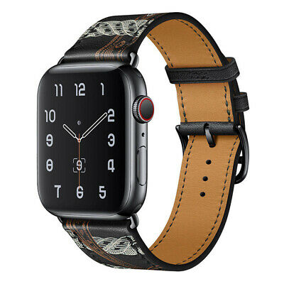 AU19.99 • Buy  Black Leather Watch Band Starp For Apple Watch Series 5 4 3 2 1 38/40/42/44MM