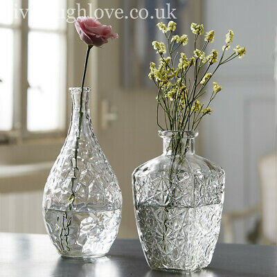 £12.95 • Buy Set Of 2 Large Decorative Clear Glass Vases - Set A