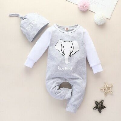Newborn Baby Boy Girl Elephant Print Romper Jumpsuit Clothes Lounge Wear Outfits • 8.99£