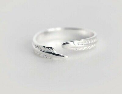 925 Silver Ring, Leaf Ring, Feather Ring, Adjustable, Thumb Ring, Bohemian Ring • 12£