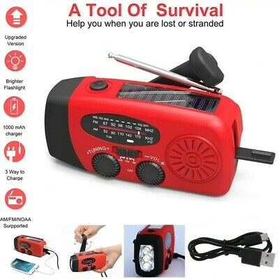Hand Crank Dynamo Wind Up Solar Portable AM FM Radio USB Charger Light Torch Red • 14.79£