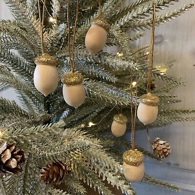 6 X Mini Acorn Hanging Decorations Christmas Gold Wood Gisela Graham Vintage  • 4.69£