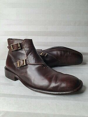 Gucci Men's Leather Ankle Twin Monk Boots Brown Size Uk9.5d Eu43.5 See Descr(12) • 50£