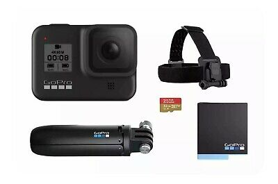 AU465 • Buy GoPro HERO8 Black Bundle With 32GB SD Card, Extra Battery, Shorty Mount & Head