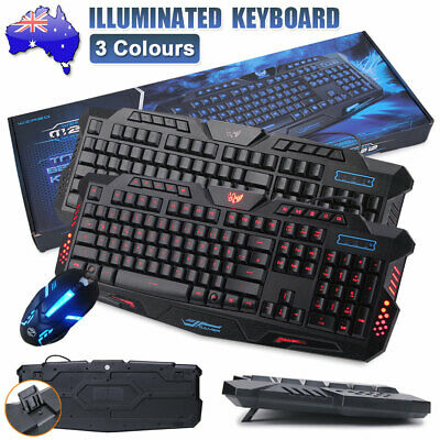 AU28.99 • Buy Gaming Keyboard And Mouse Set Rainbow LED USB Wired For PC Laptop PS4 Xbox One