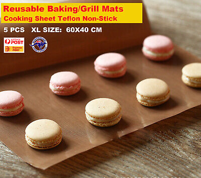 AU16.99 • Buy 5X Bake Sheet Mat Reusable High Temp Resistant BBQ Grill Teflon Non-Stick Party