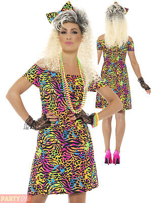Ladies 80s Fancy Dress Costume Party Animal Neon Rave Eighties Womens Outfit • 10.36£